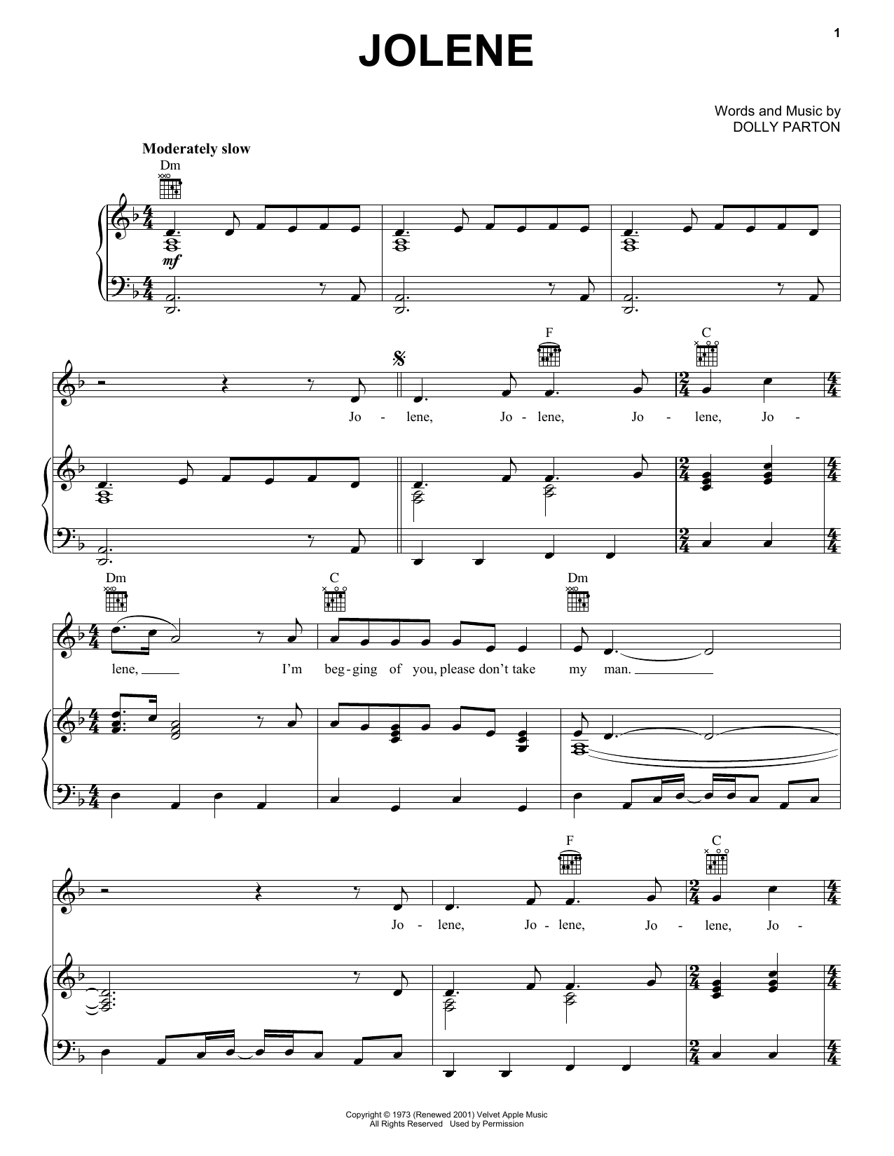 Dolly Parton Jolene sheet music notes and chords - download printable PDF.