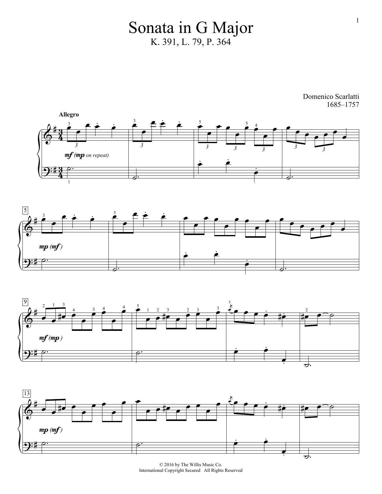 Domenico Scarlatti Sonata In G Major, K. 391, L. 79, P. 364 sheet music notes and chords. Download Printable PDF.