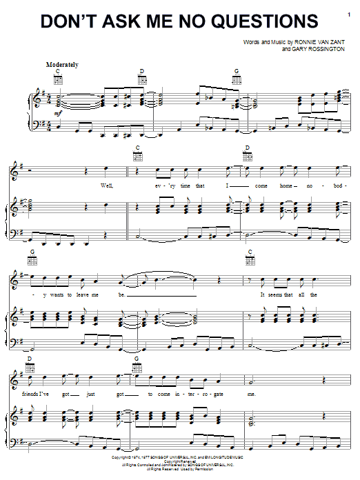 Lynyrd Skynyrd Don't Ask Me No Questions sheet music notes printable PDF score