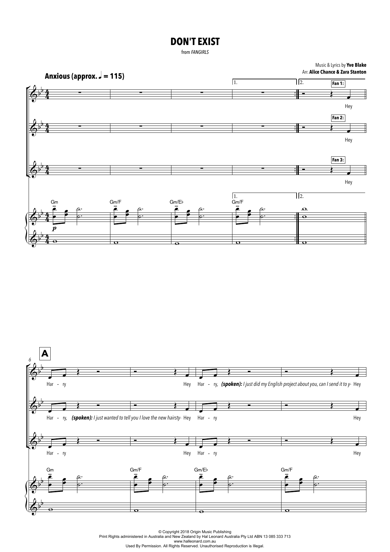 Yve Blake Don't Exist (from Fangirls) (arr. Alice Chance and Zara Stanton) sheet music notes printable PDF score