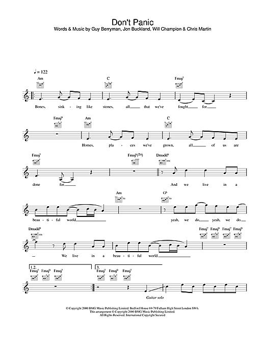 Coldplay Don't Panic sheet music notes printable PDF score