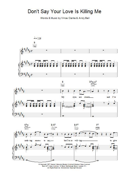 Erasure Don't Say Your Love Is Killing Me sheet music notes printable PDF score