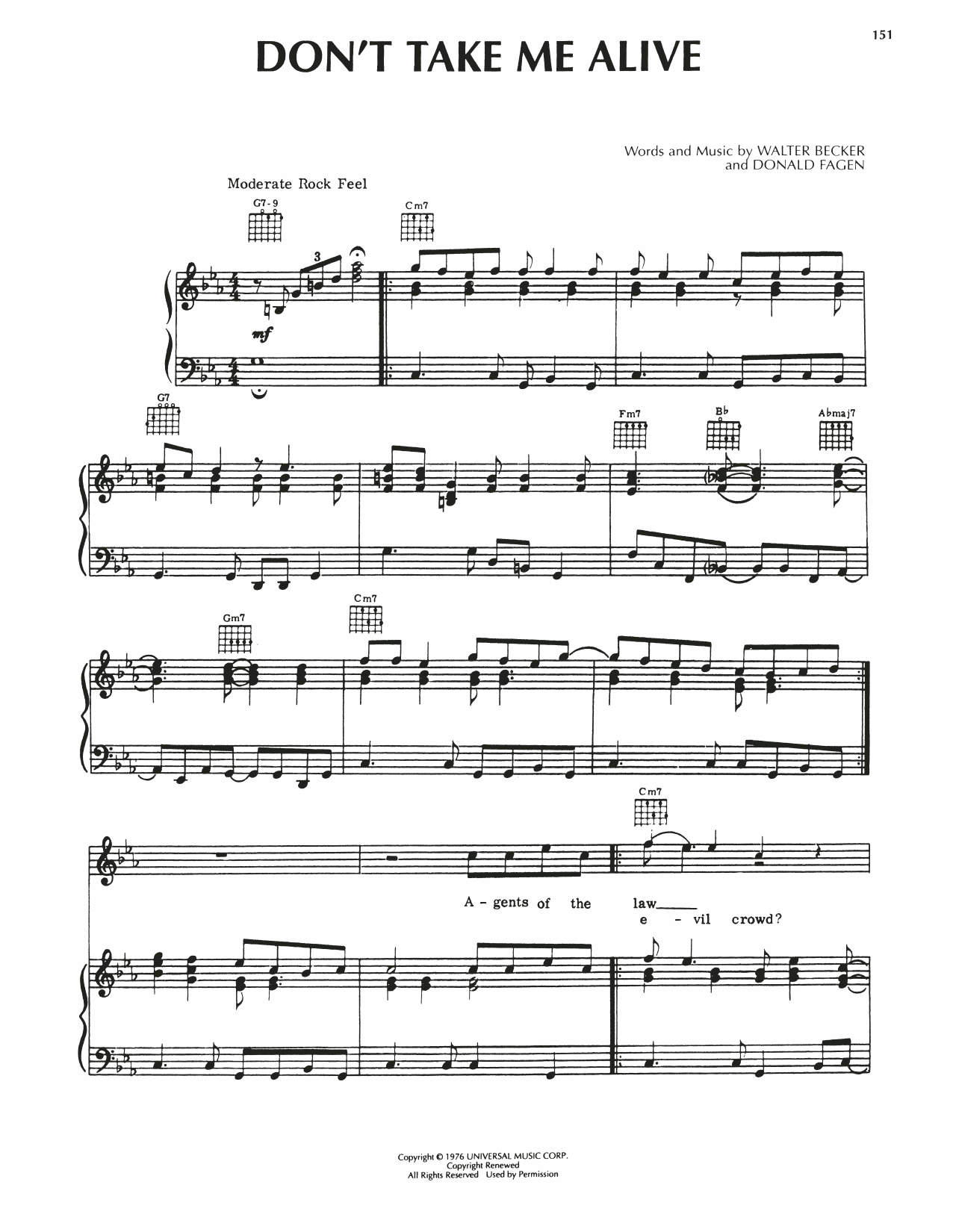 Steely Dan Don't Take Me Alive sheet music notes printable PDF score
