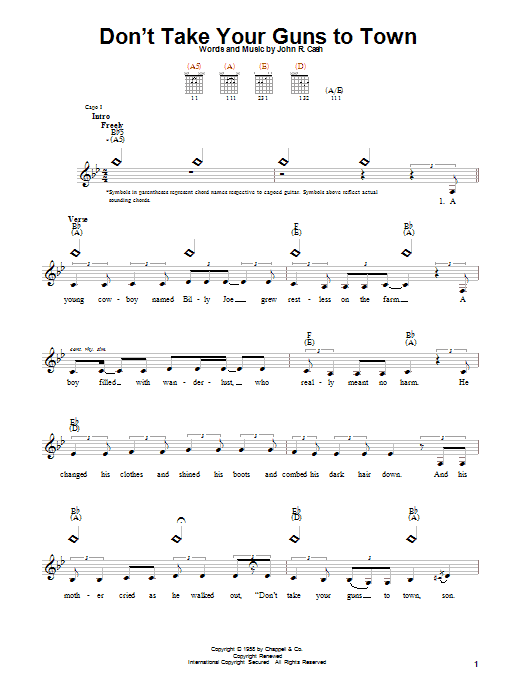 Johnny Cash Don't Take Your Guns To Town sheet music notes printable PDF score