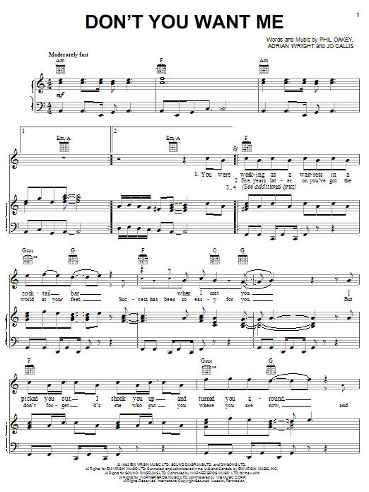 The Human League Don't You Want Me sheet music notes printable PDF score