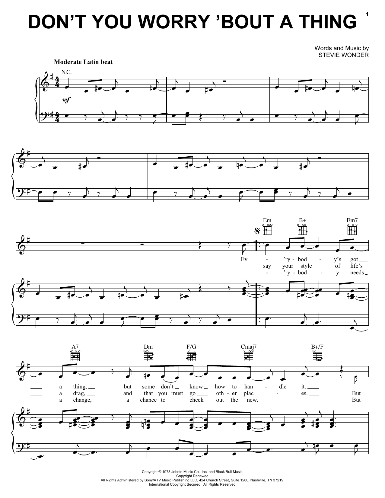 Stevie Wonder Don't You Worry 'Bout A Thing sheet music notes printable PDF score