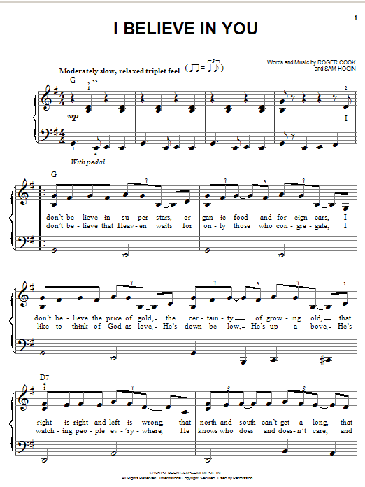 Don Williams I Believe In You sheet music notes and chords. Download Printable PDF.