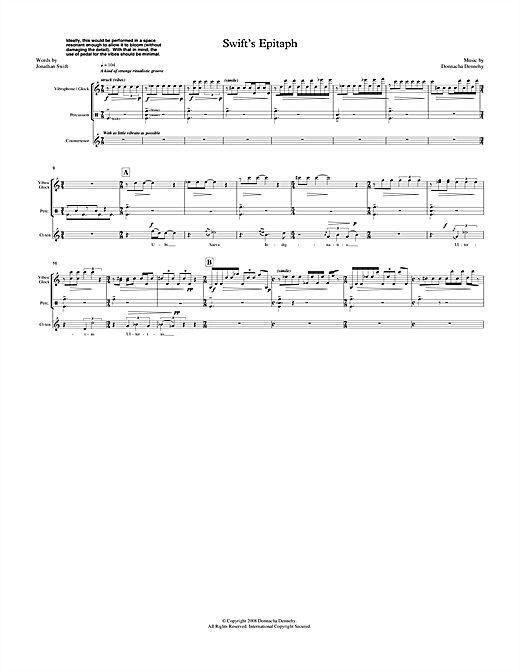 Donnacha Dennehy Swift's Epitaph (for counter-tenor & percussion) sheet music notes printable PDF score