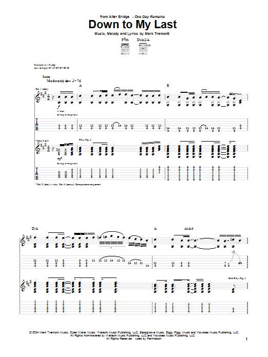 Alter Bridge Down To My Last sheet music notes printable PDF score