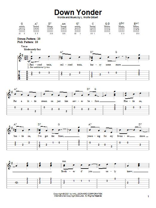 L. Wolfe Gilbert Down Yonder sheet music notes printable PDF score