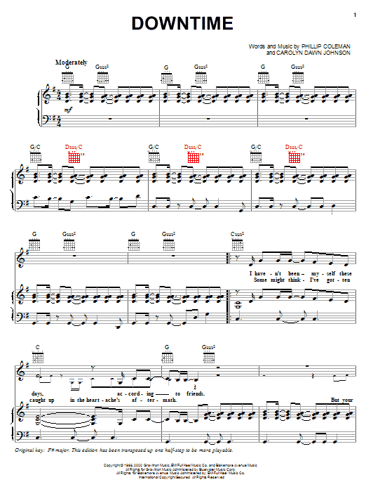 Jo Dee Messina Downtime sheet music notes printable PDF score