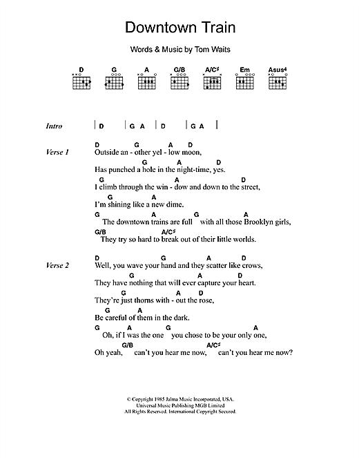 Tom Waits Downtown Train sheet music notes printable PDF score