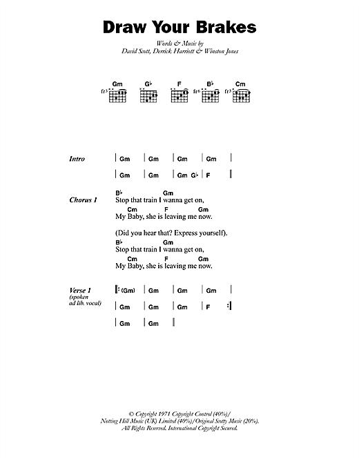 Scotty Draw Your Brakes sheet music notes printable PDF score