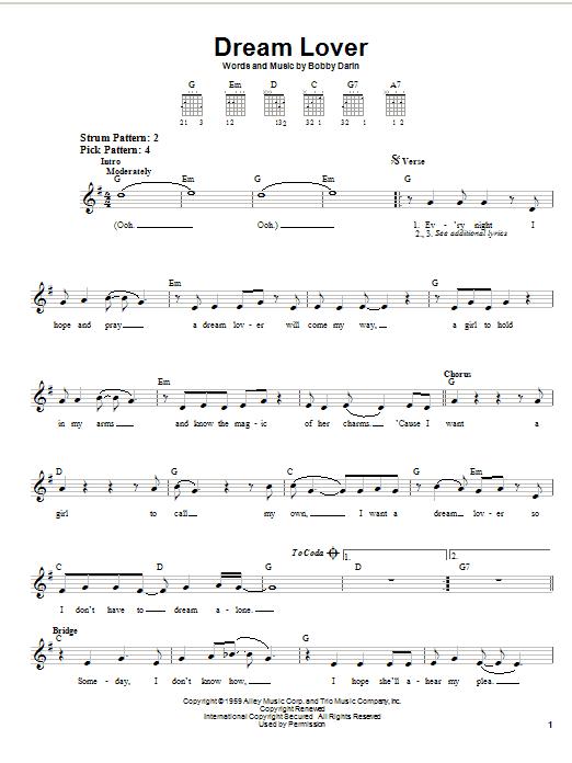Bobby Darin Dream Lover sheet music notes printable PDF score