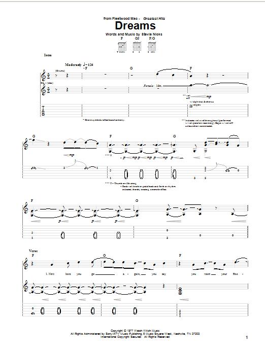 Fleetwood Mac Dreams sheet music notes printable PDF score