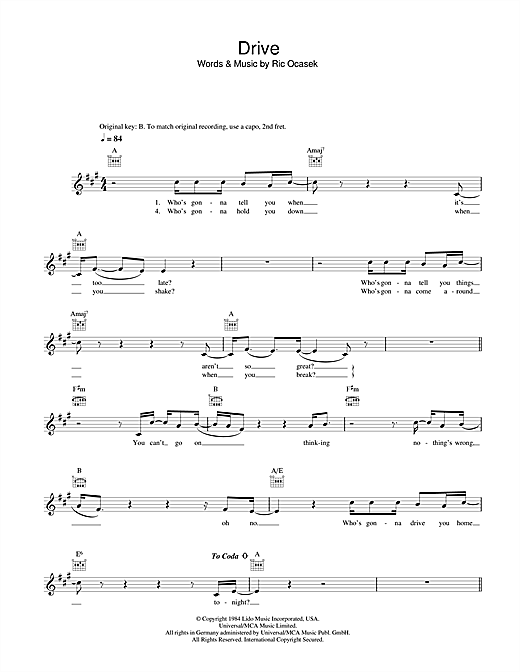 The Cars Drive sheet music notes printable PDF score