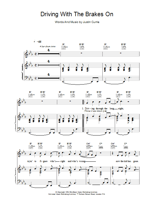 Del Amitri Driving With The Brakes On sheet music notes printable PDF score