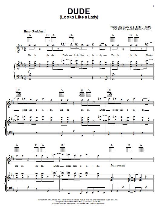 Aerosmith Dude (Looks Like A Lady) sheet music notes printable PDF score
