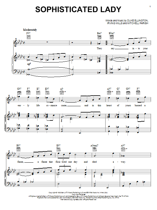 Duke Ellington Sophisticated Lady sheet music notes and chords - download printable PDF.