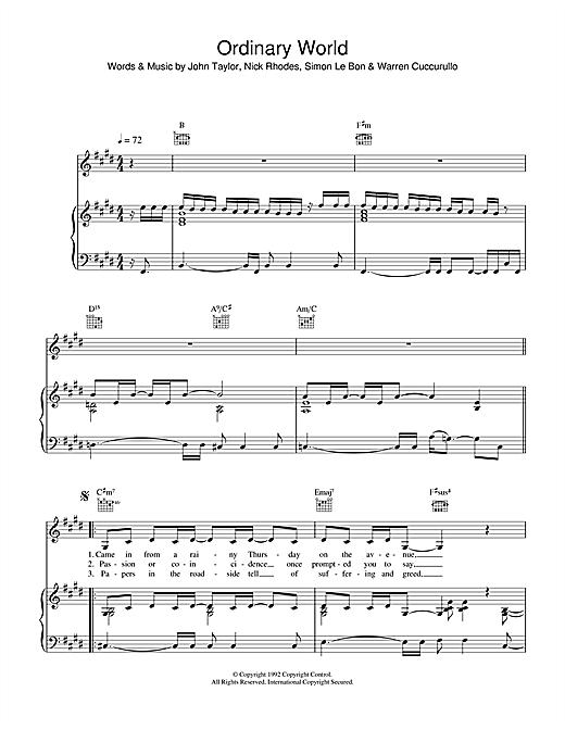 Duran Duran Ordinary World sheet music notes printable PDF score