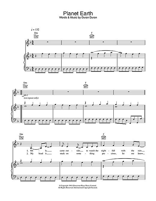 Duran Duran Planet Earth sheet music notes printable PDF score