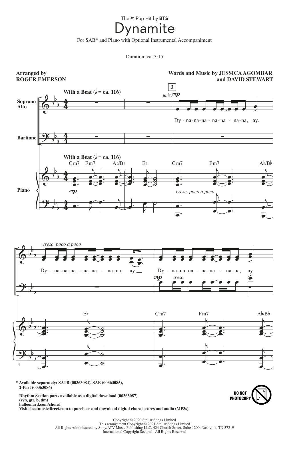 BTS Dynamite (arr. Roger Emerson) sheet music notes printable PDF score