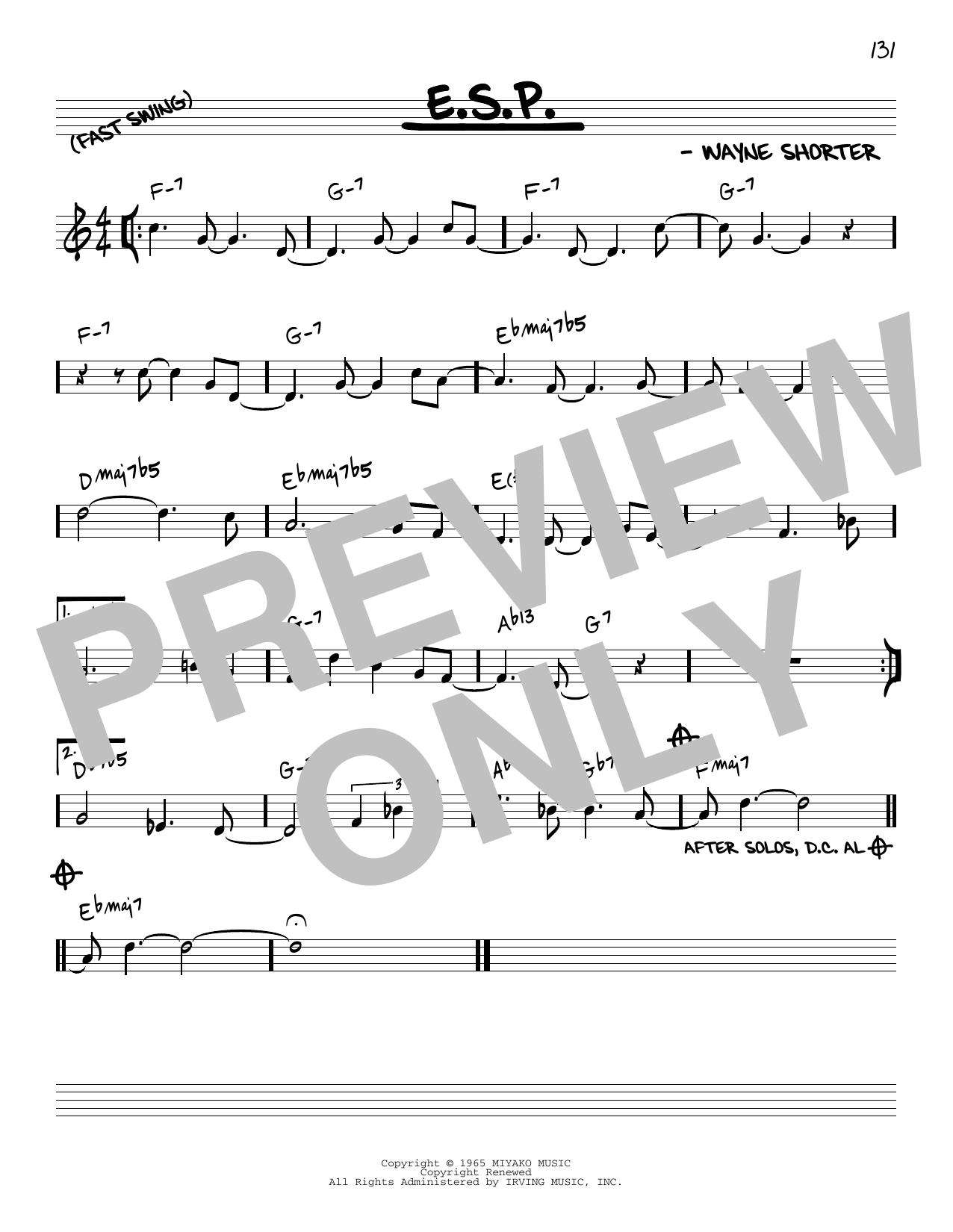 Wayne Shorter E.S.P. [Reharmonized version] (arr. Jack Grassel) sheet music notes printable PDF score