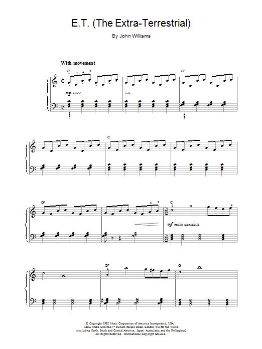 John Williams E.T. The Extra-Terrestrial sheet music notes printable PDF score