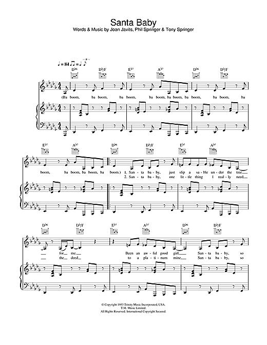 Eartha Kitt Santa Baby sheet music notes and chords. Download Printable PDF.