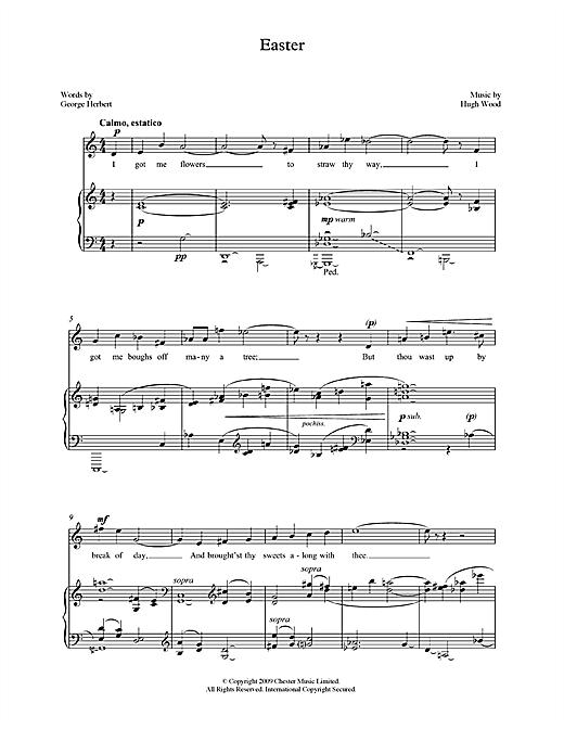 Hugh Wood Easter (tenor & piano) sheet music notes printable PDF score