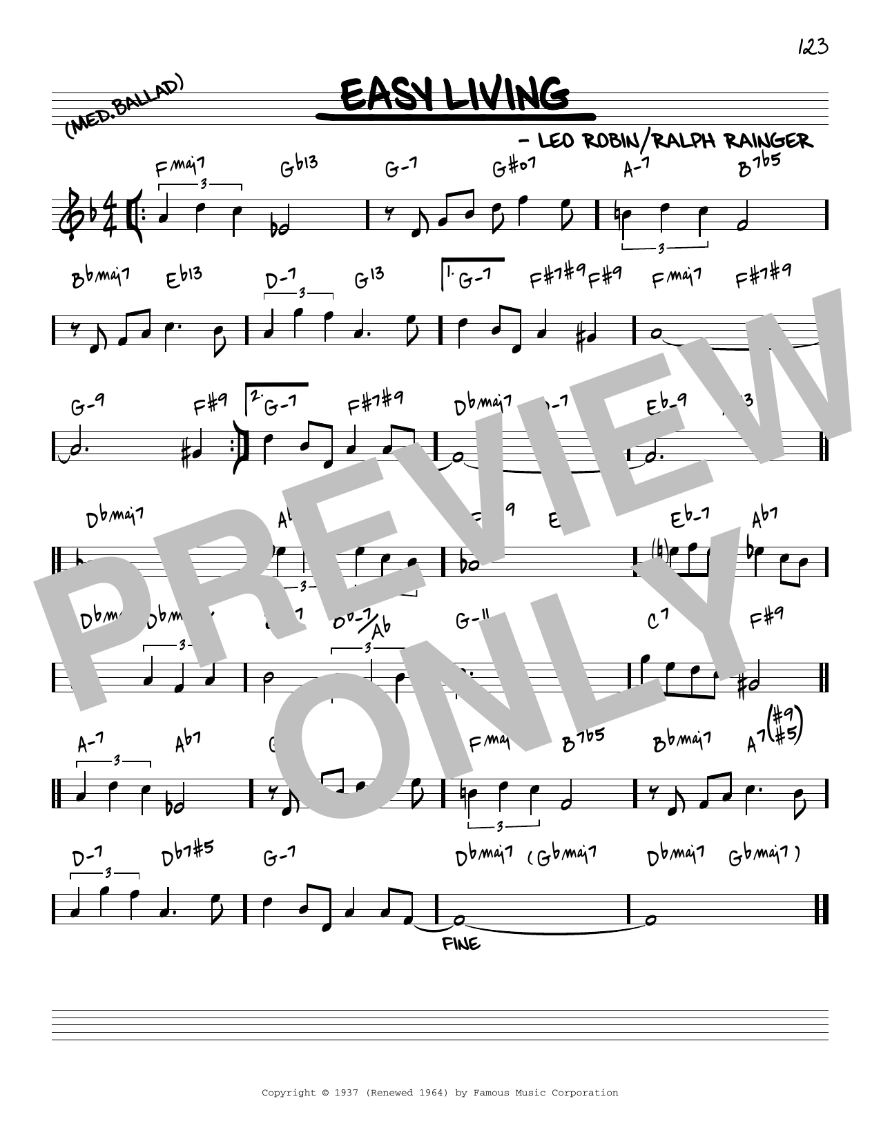 Billie Holiday Easy Living [Reharmonized version] (arr. Jack Grassel) sheet music notes printable PDF score