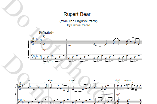 Gabriel Yared Rupert Bear (from The English Patient) sheet music notes printable PDF score