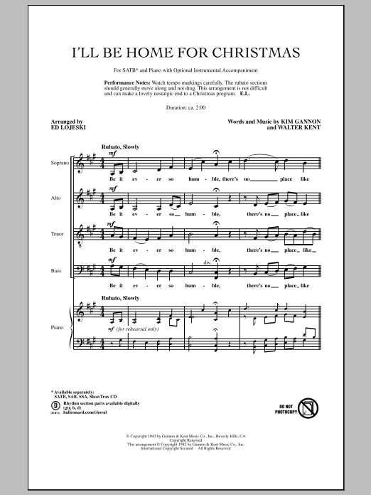 Ed Lojeski I'll Be Home For Christmas sheet music notes and chords. Download Printable PDF.