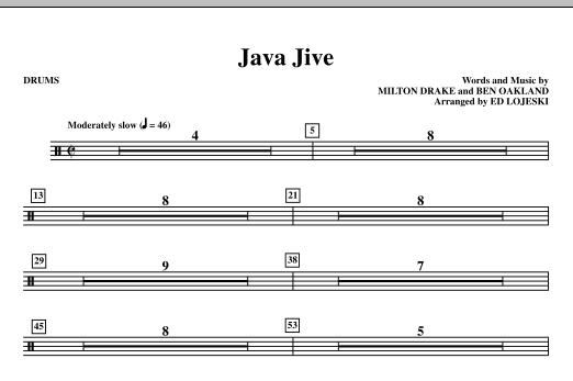 Ed Lojeski Java Jive (SATB Octavo Accompaniment Parts) - Drums sheet music notes printable PDF score