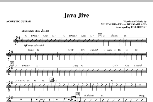 Ed Lojeski Java Jive (TTBB Octavo Accompaniment Parts) - Acoustic Guitar sheet music notes printable PDF score