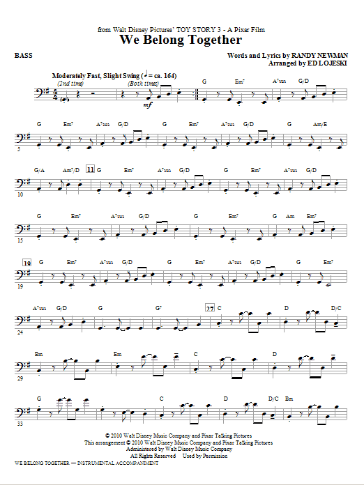 Ed Lojeski We Belong Together (from Toy Story 3) - Bass sheet music notes printable PDF score