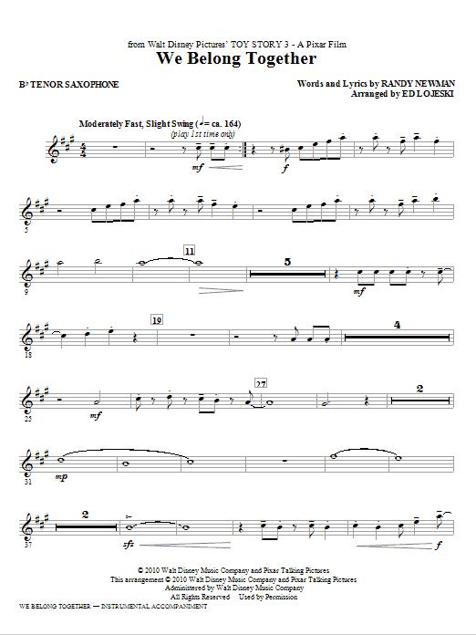 Ed Lojeski We Belong Together (from Toy Story 3) - Bb Tenor Saxophone sheet music notes printable PDF score