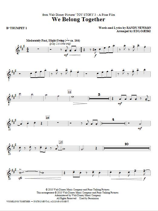 Ed Lojeski We Belong Together (from Toy Story 3) - Bb Trumpet 1 sheet music notes printable PDF score