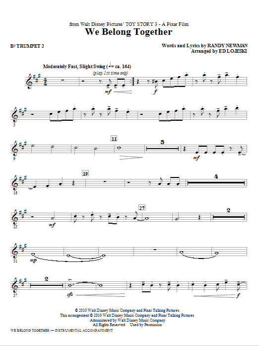 Ed Lojeski We Belong Together (from Toy Story 3) - Bb Trumpet 2 sheet music notes printable PDF score