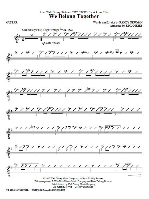 Ed Lojeski We Belong Together (from Toy Story 3) - Guitar sheet music notes printable PDF score