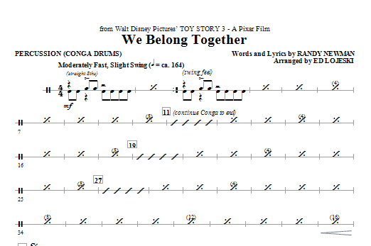 Ed Lojeski We Belong Together (from Toy Story 3) - Percussion sheet music notes printable PDF score