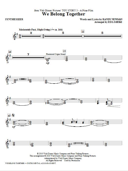 Ed Lojeski We Belong Together (from Toy Story 3) - Synthesizer sheet music notes printable PDF score