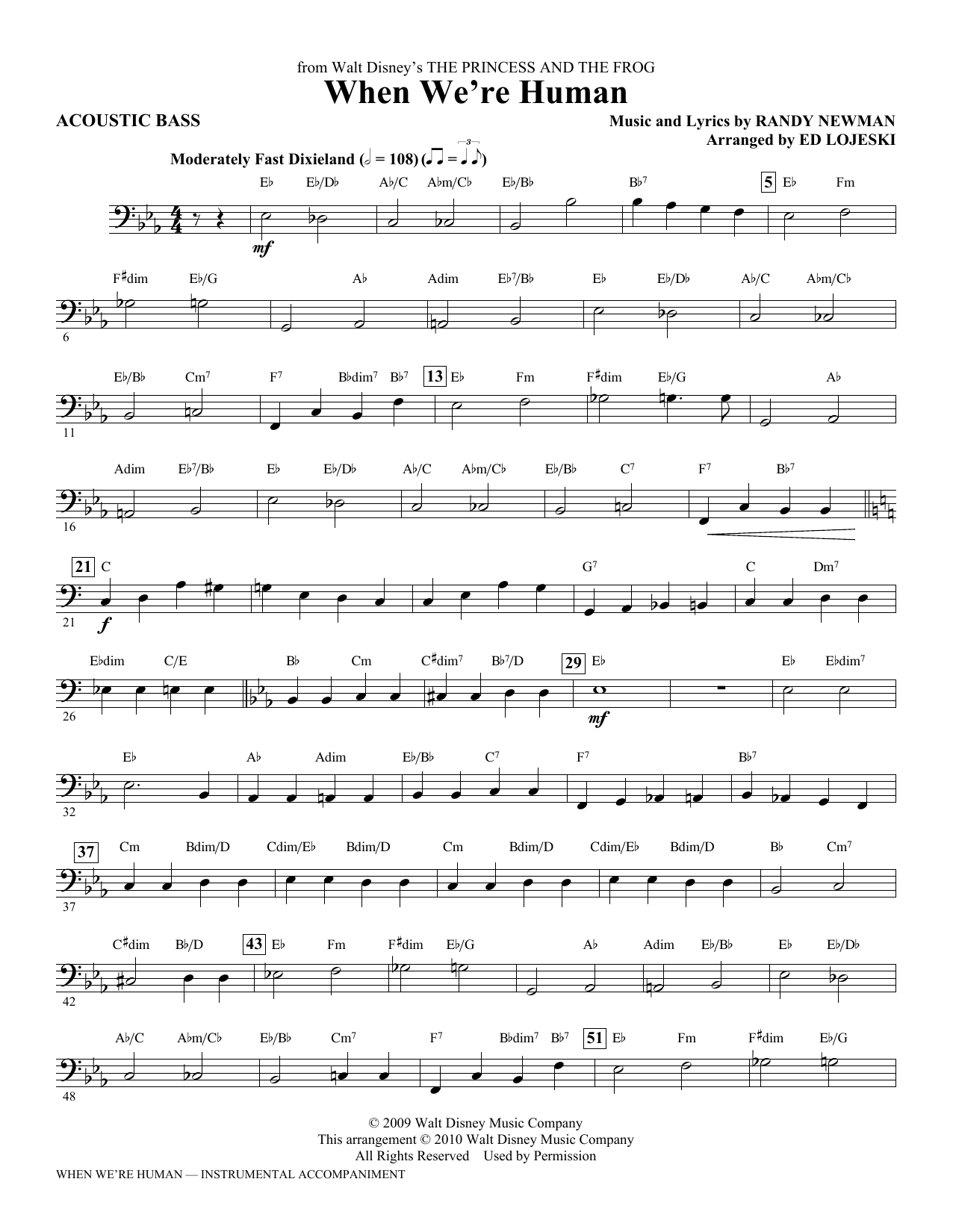 Ed Lojeski When We're Human (from The Princess And The Frog) - Acoustic Bass sheet music notes printable PDF score