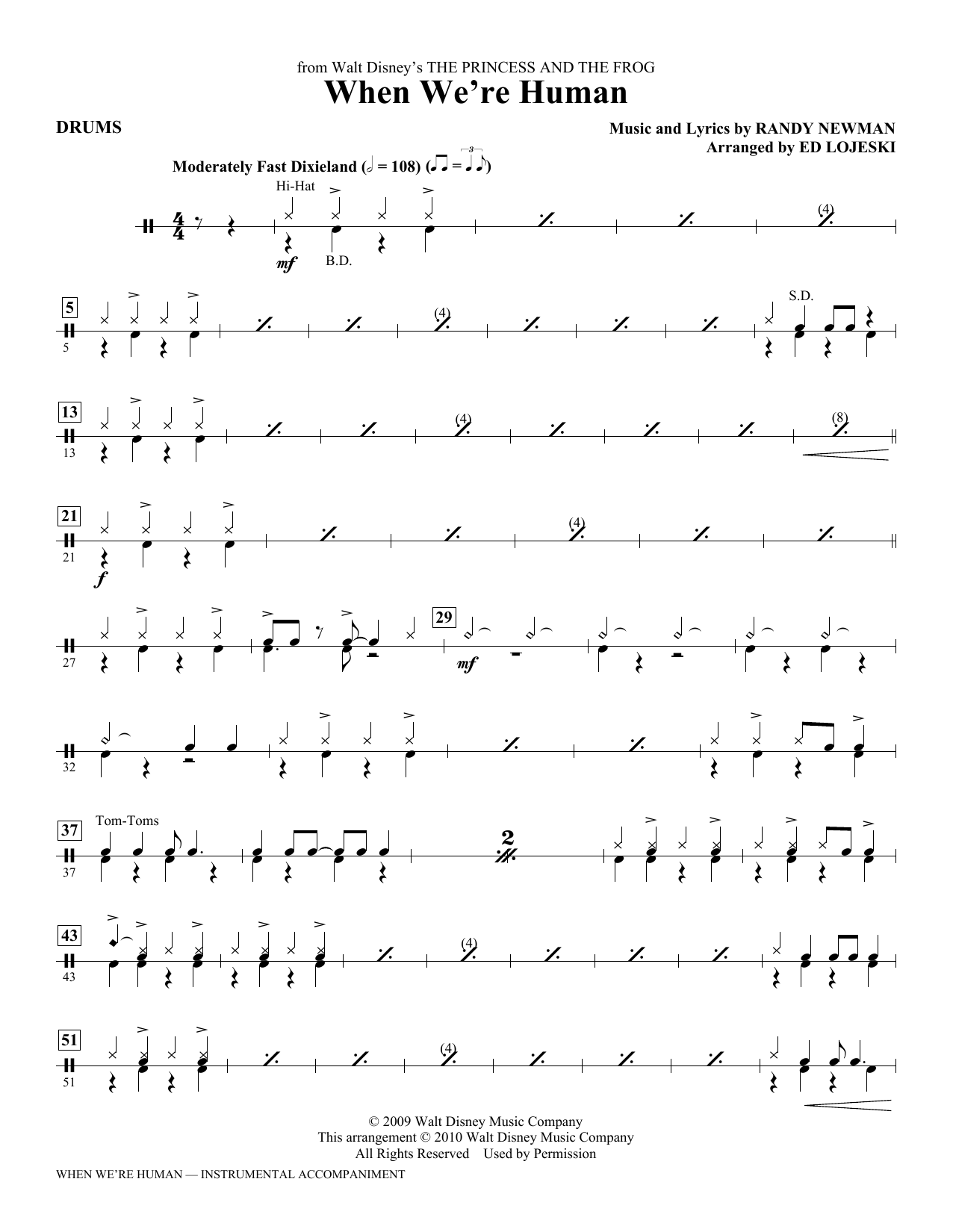Ed Lojeski When We're Human (from The Princess And The Frog) - Drums sheet music notes printable PDF score