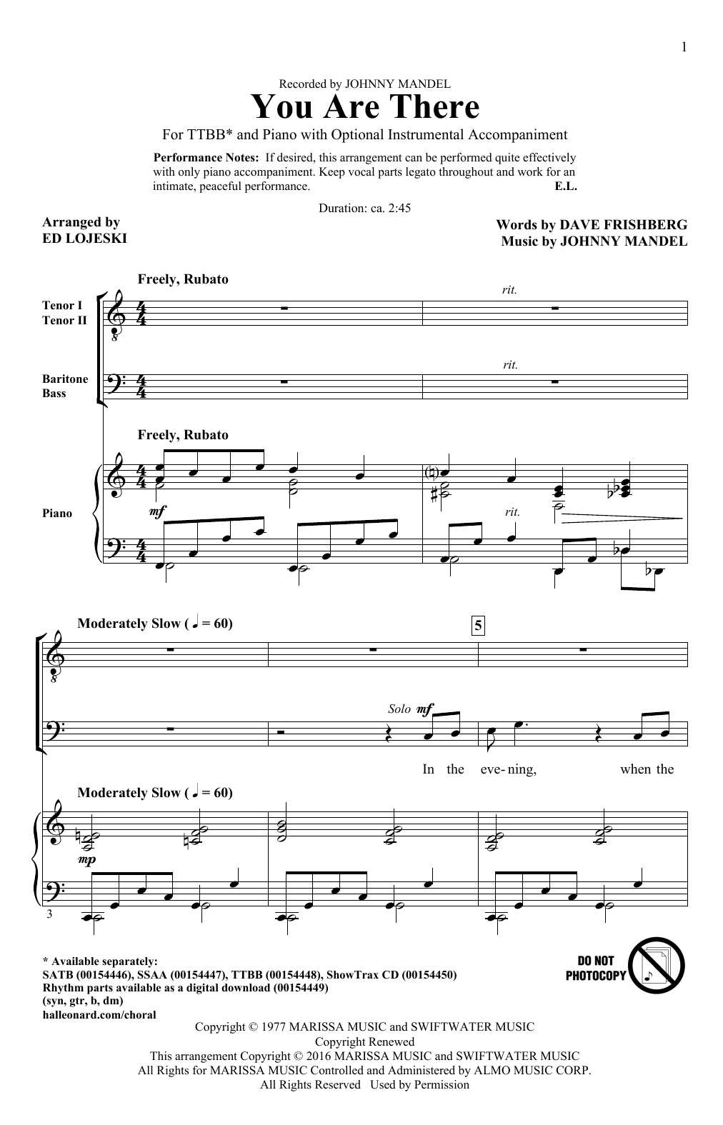 Ed Lojeski You Are There sheet music notes and chords - download printable PDF.