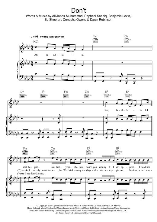 Ed Sheeran Don't sheet music notes and chords. Download Printable PDF.