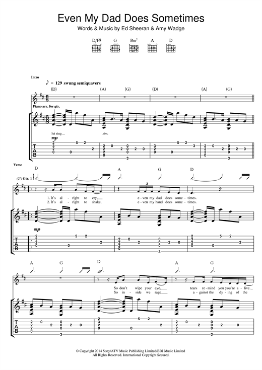 Ed Sheeran Even My Dad Does Sometimes sheet music notes and chords. Download Printable PDF.