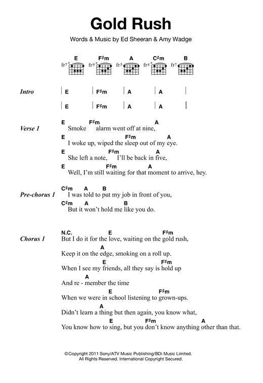 Ed Sheeran Gold Rush sheet music notes and chords - download printable PDF.