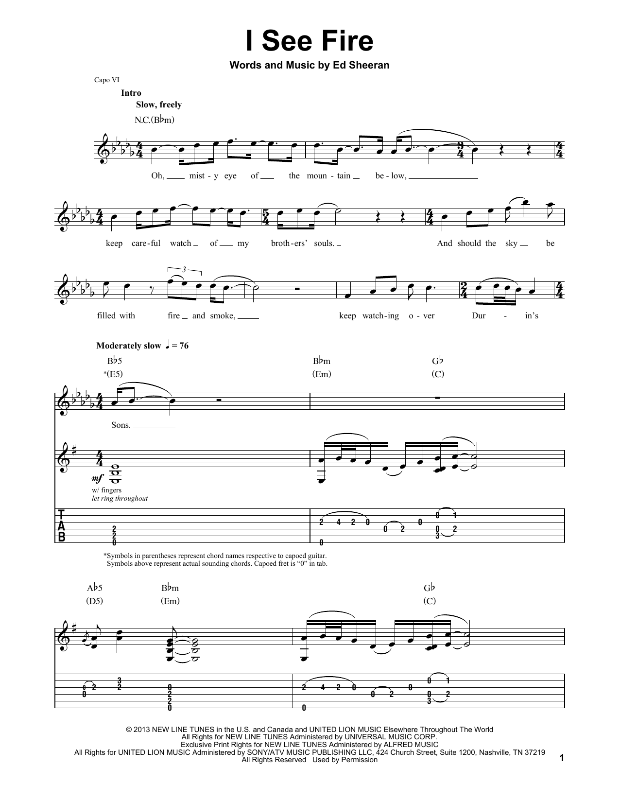 Ed Sheeran I See Fire (from The Hobbit) sheet music notes and chords. Download Printable PDF.