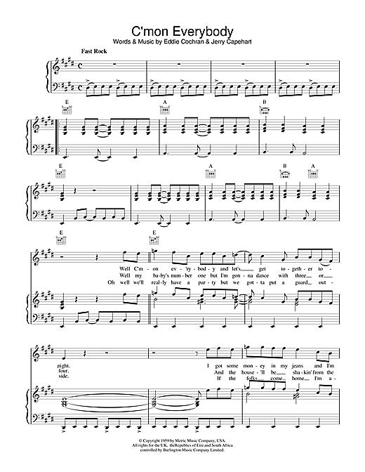 Eddie Cochran C'mon Everybody sheet music notes printable PDF score